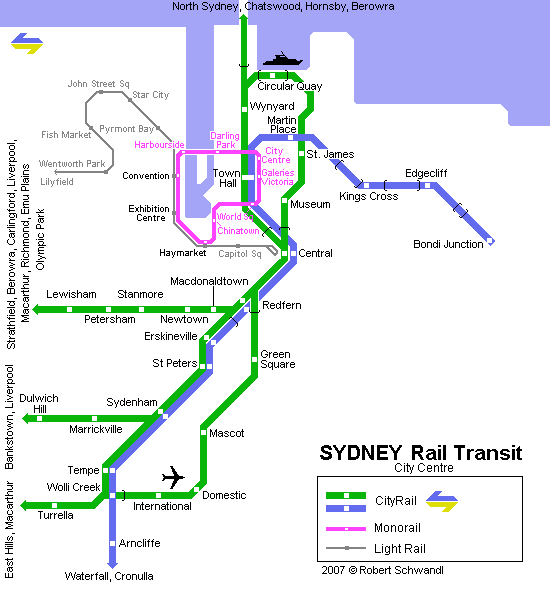 mapa del metro de Sídney