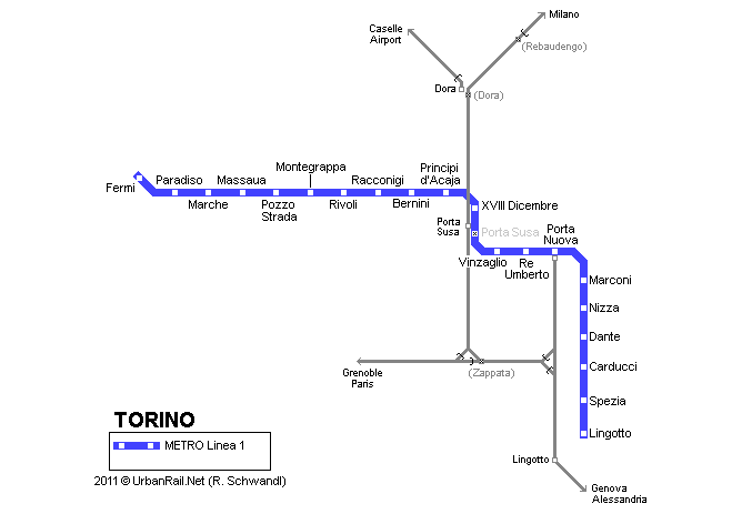Map of metro in Turin