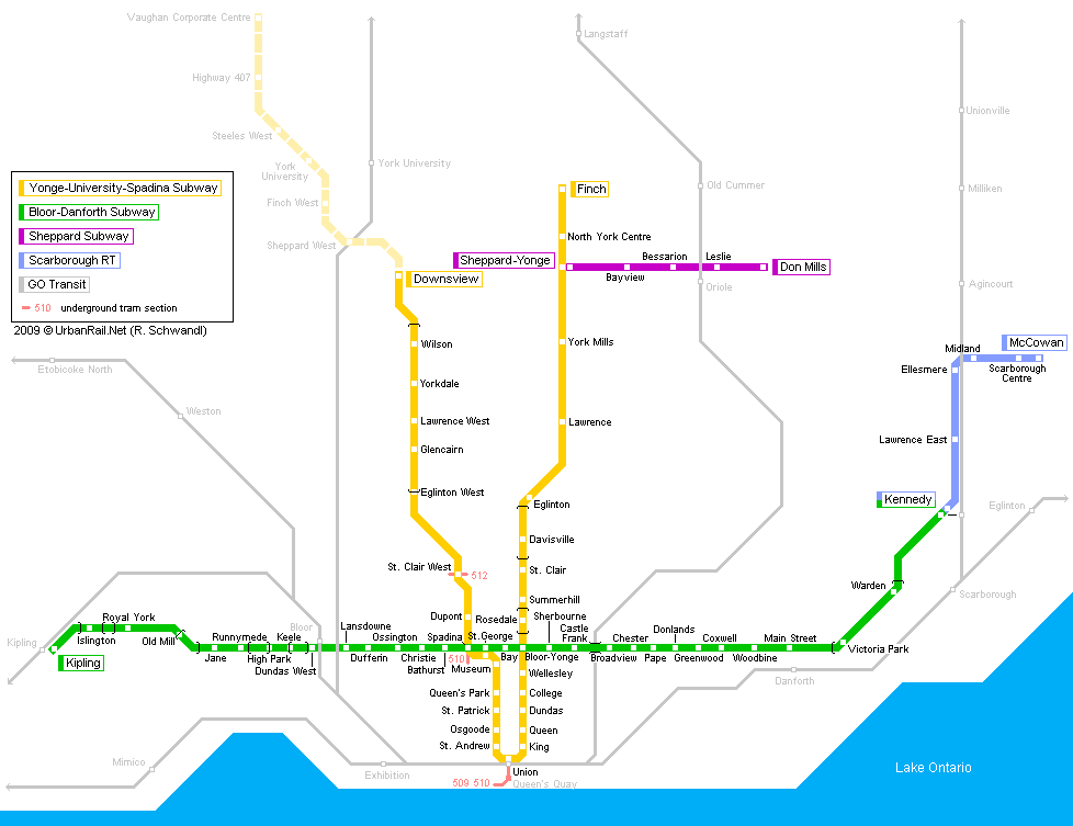 Toronto Subway Map.Toronto Subway Map For Download Metro In Toronto High Resolution
