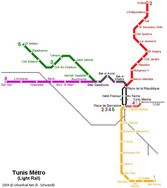 Carte du métropolitain de Tunis