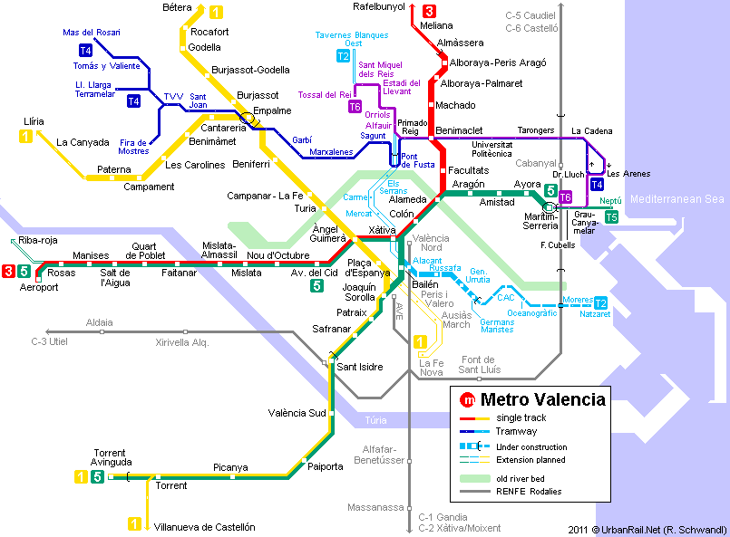 Valencia Tram Map for Free Download Map of Valencia Tramway Network