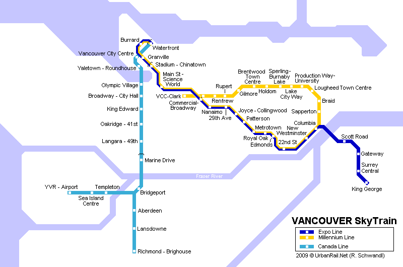 Vancouver Metro Map Vancouver Subway Map for Download | Metro in Vancouver   High