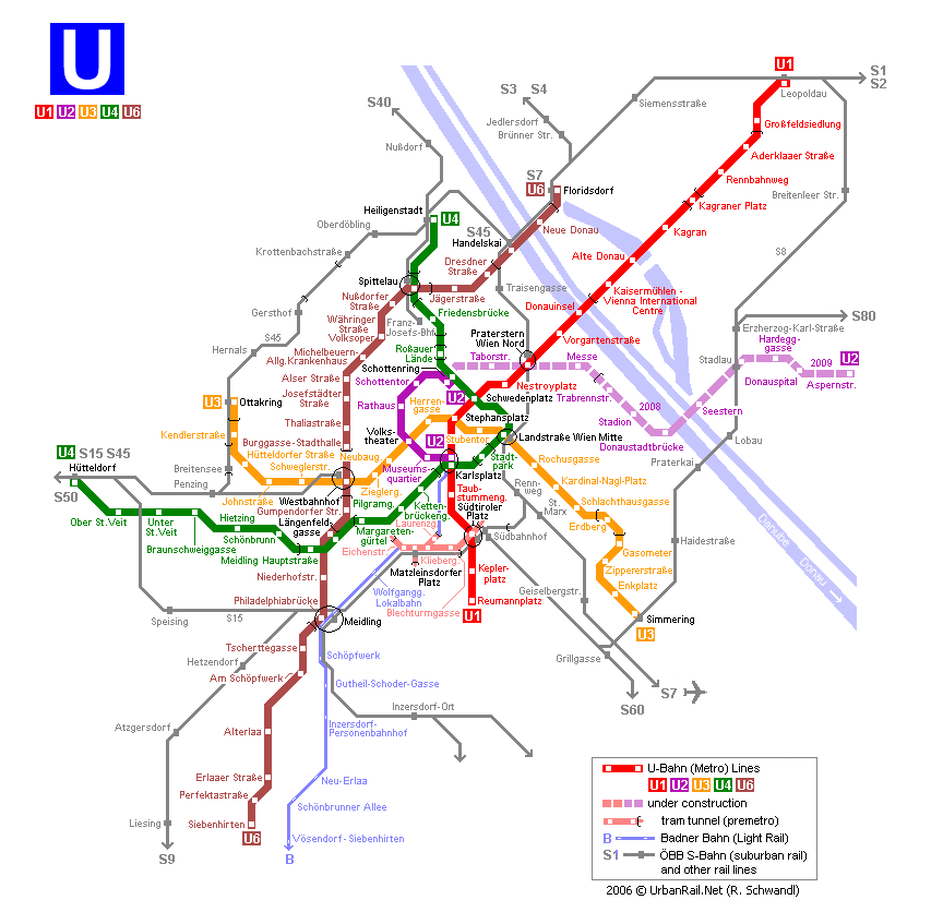 Map of metro in Vienna