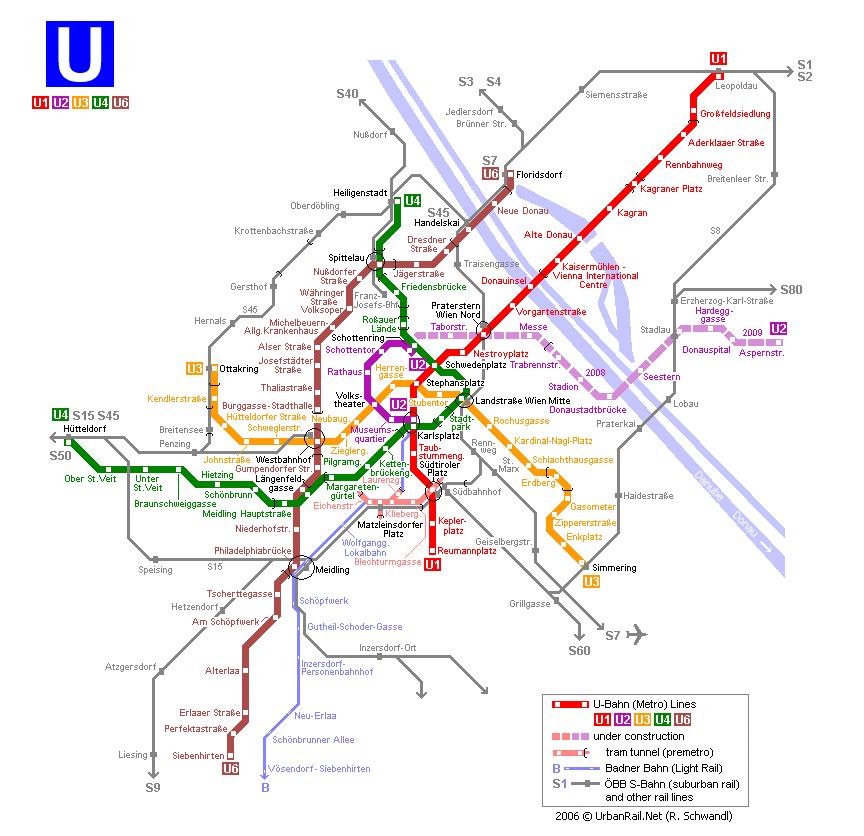 Vienna Metro Map Vienna Subway Map for Download | Metro in Vienna   High Resolution