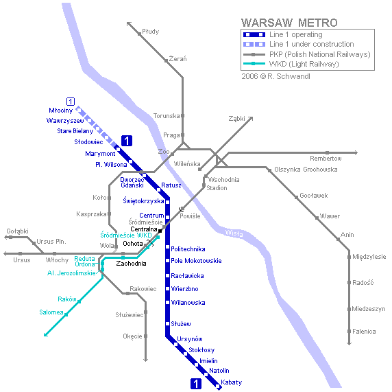 Map of metro in Warsaw