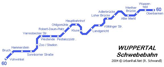 mapa del metro de Wuppertal