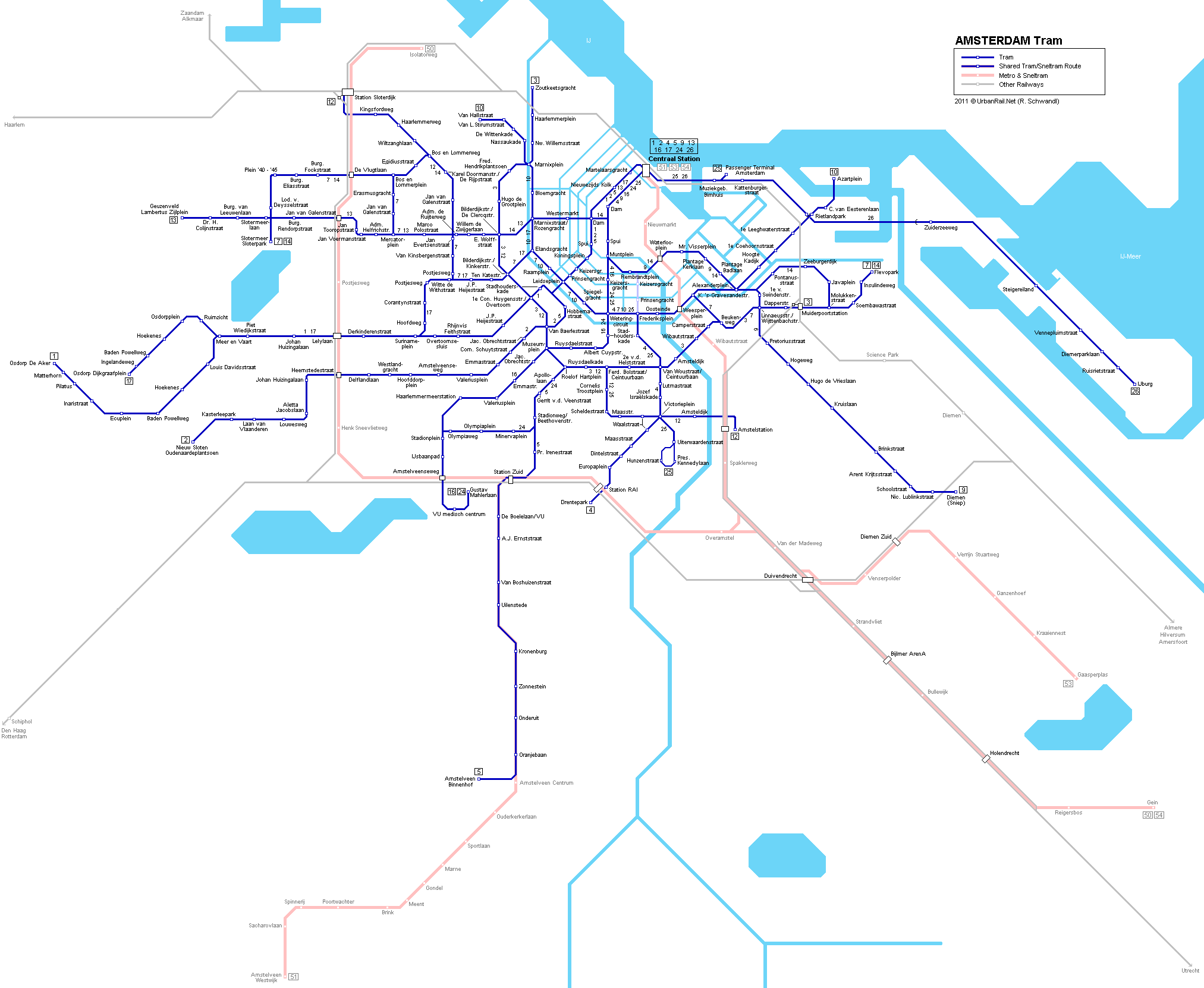 Tram Map of Amsterdam