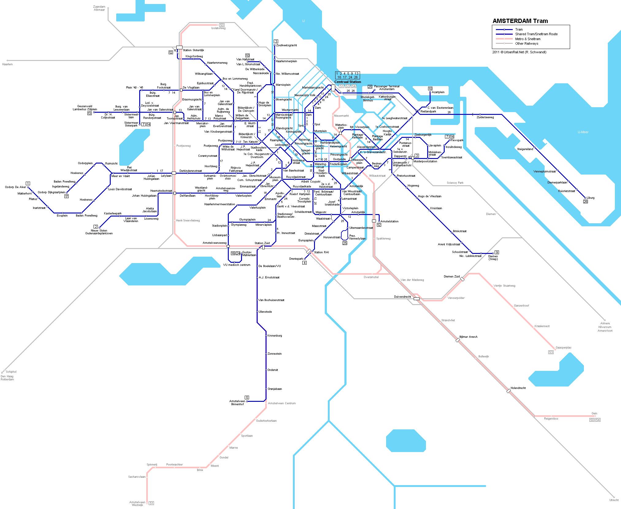 Tram Map Amsterdam Amsterdam Tram Map for Free Download | Map of Amsterdam Tramway  Tram Map Amsterdam