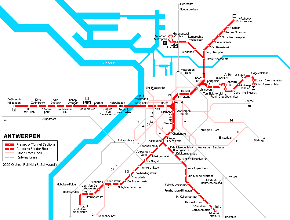 Antwerpen Tram Map for Free Download Map of Antwerpen Tramway Network