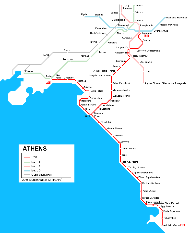 Athens Tram Map for Free Download Map of Athens Tramway Network