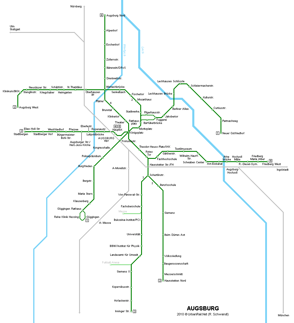 Tram map of Augsburg