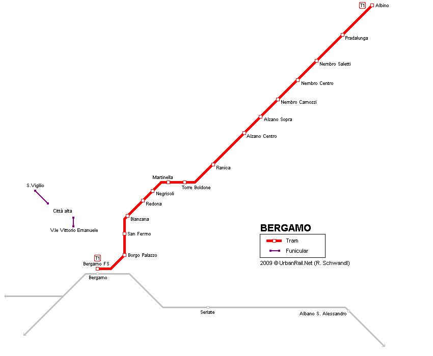 Tram map of Bergamo