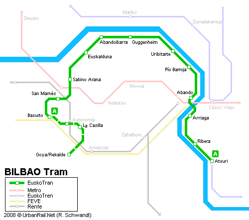 Tram map of Bilbao
