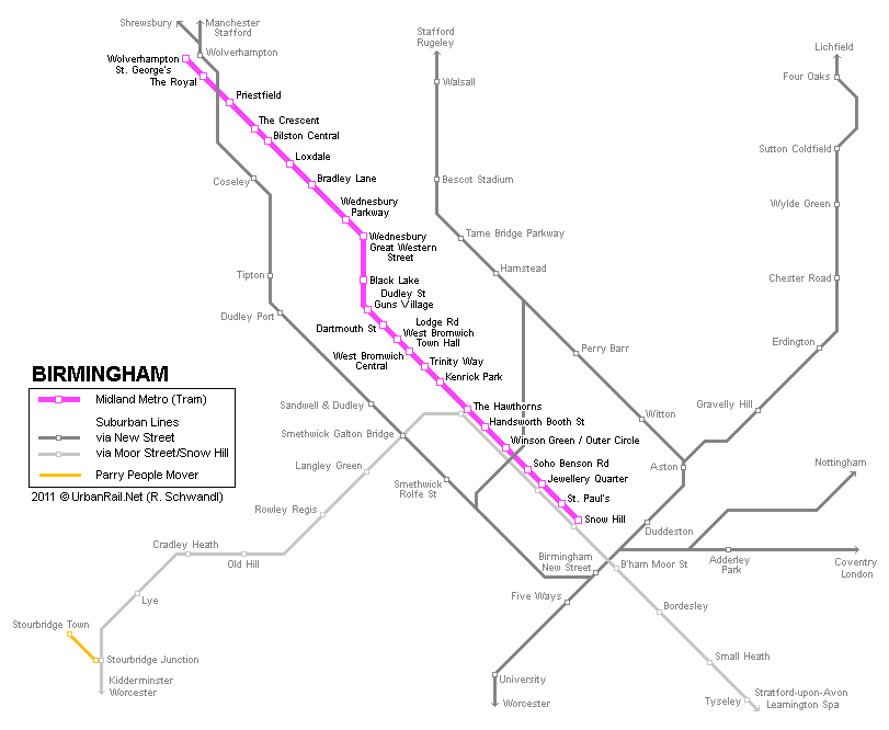 Birmingham Tram Map for Free Download | Map of Birmingham Tramway ...
