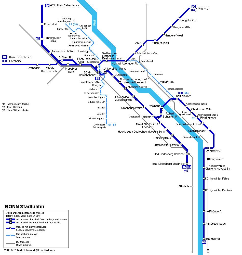 Tram map of Bonn