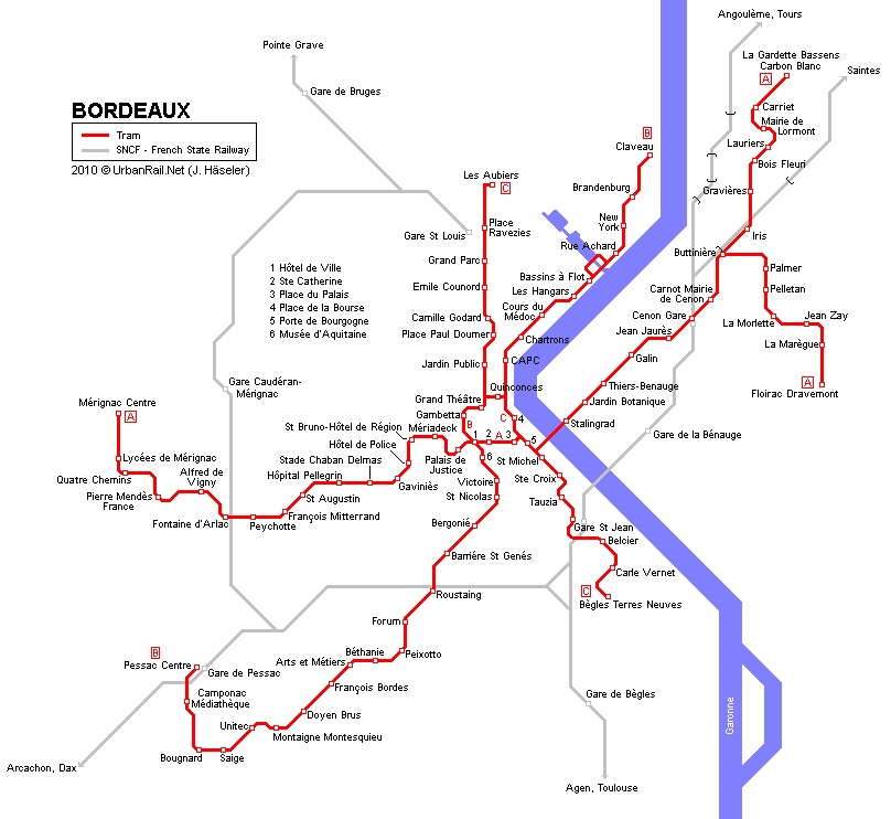 Bordeaux Tram Map for Free Download Map of Bordeaux Tramway Network