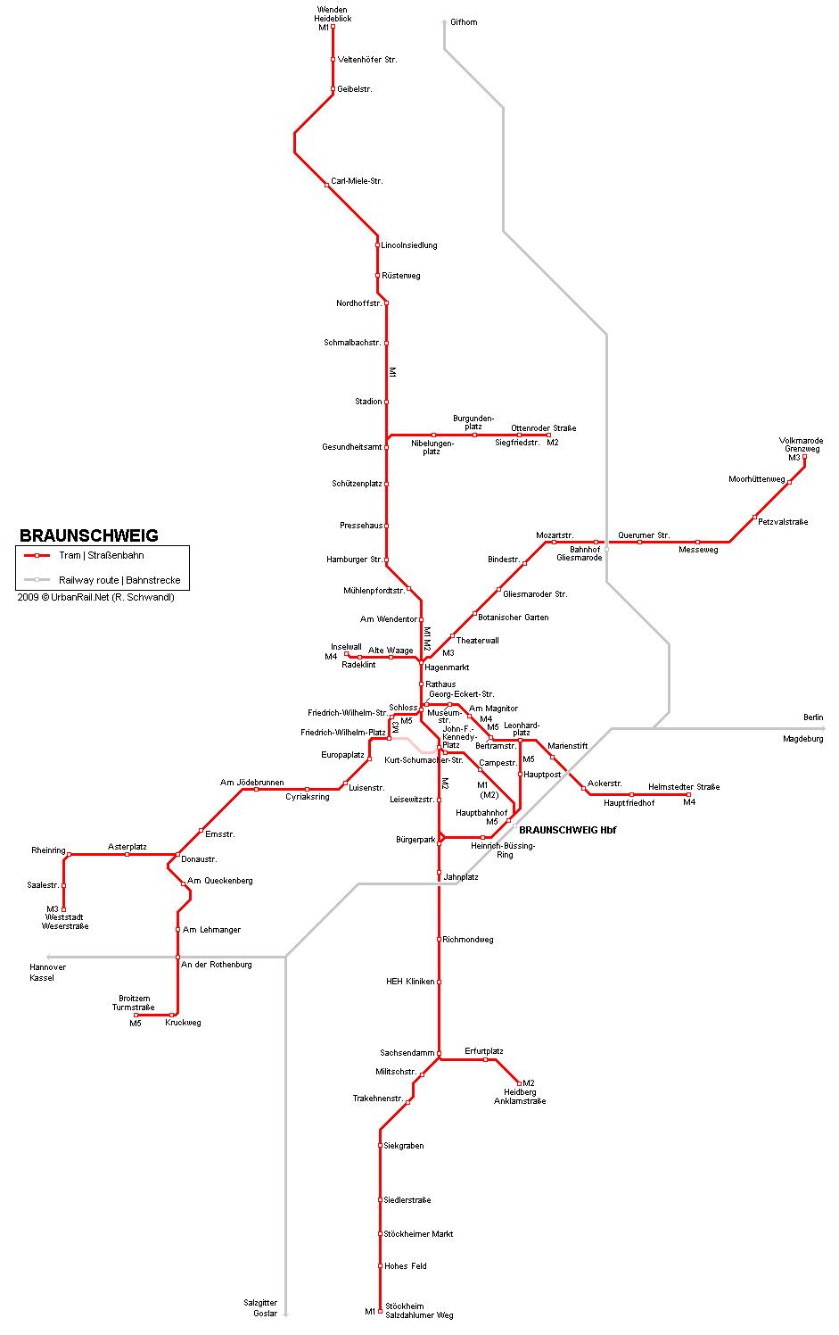Карта трамваев в Брауншвейге