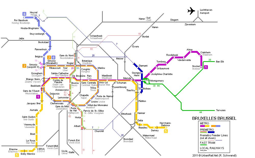 Carte des tramways Bruxelles