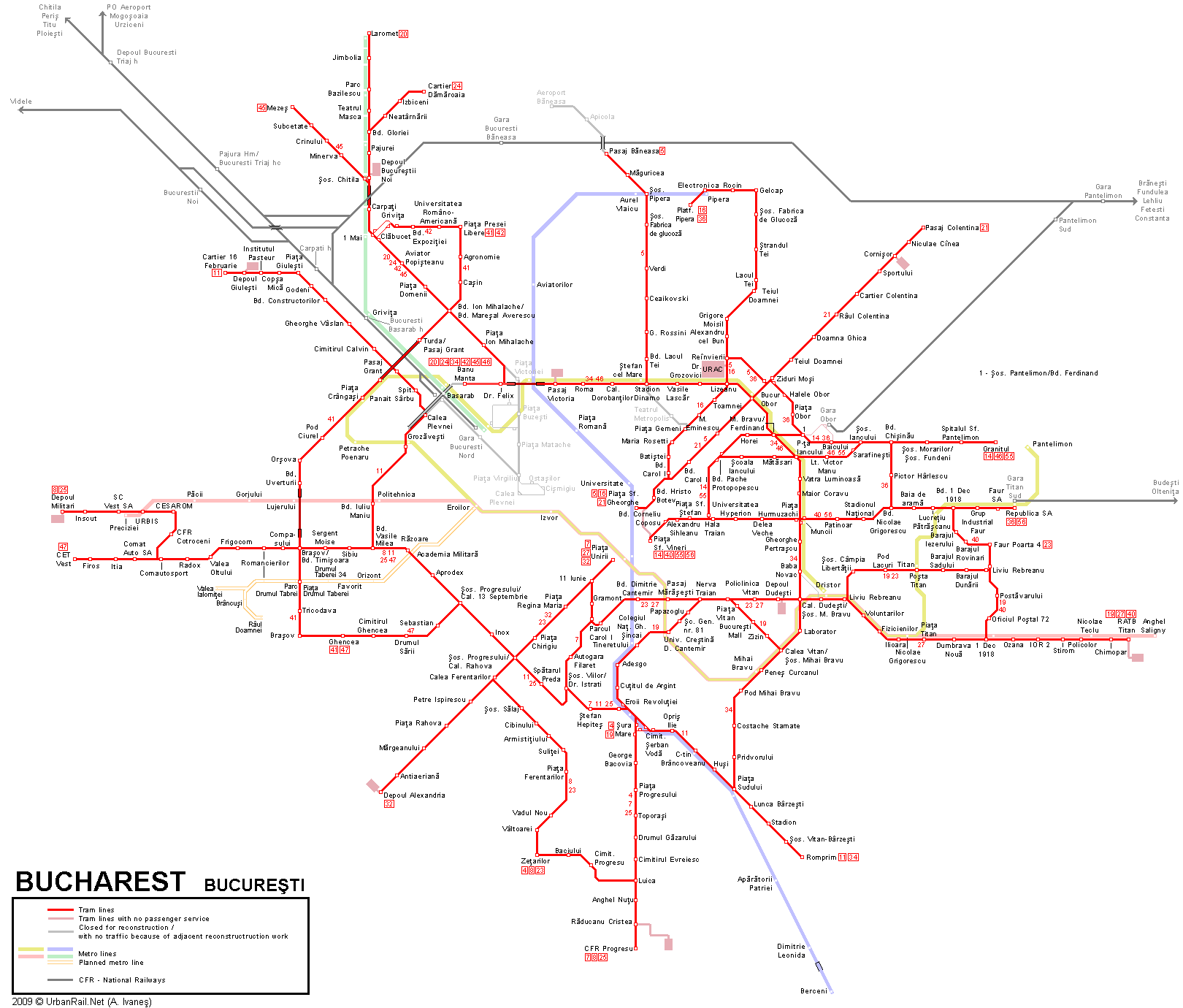 Tram map of Bucharest