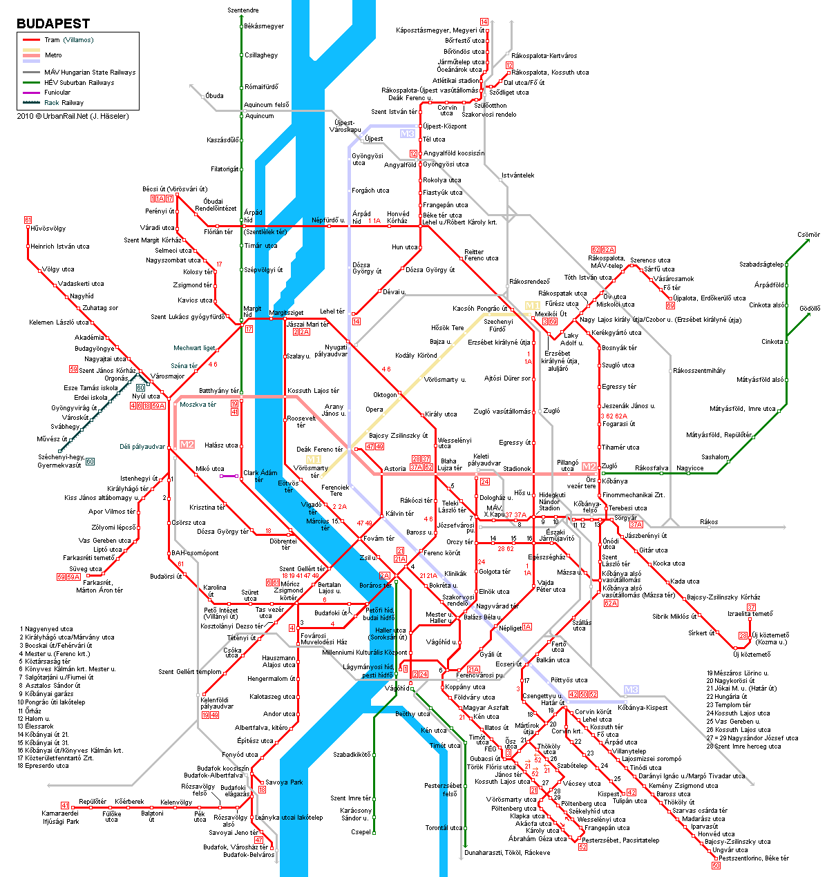 Tram map of Budapest