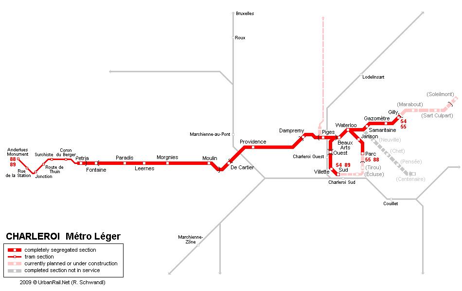 Carte des tramways Charleroi