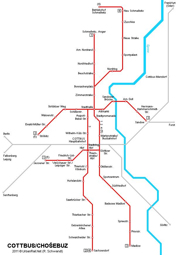 Карта трамваев в Коттбусе