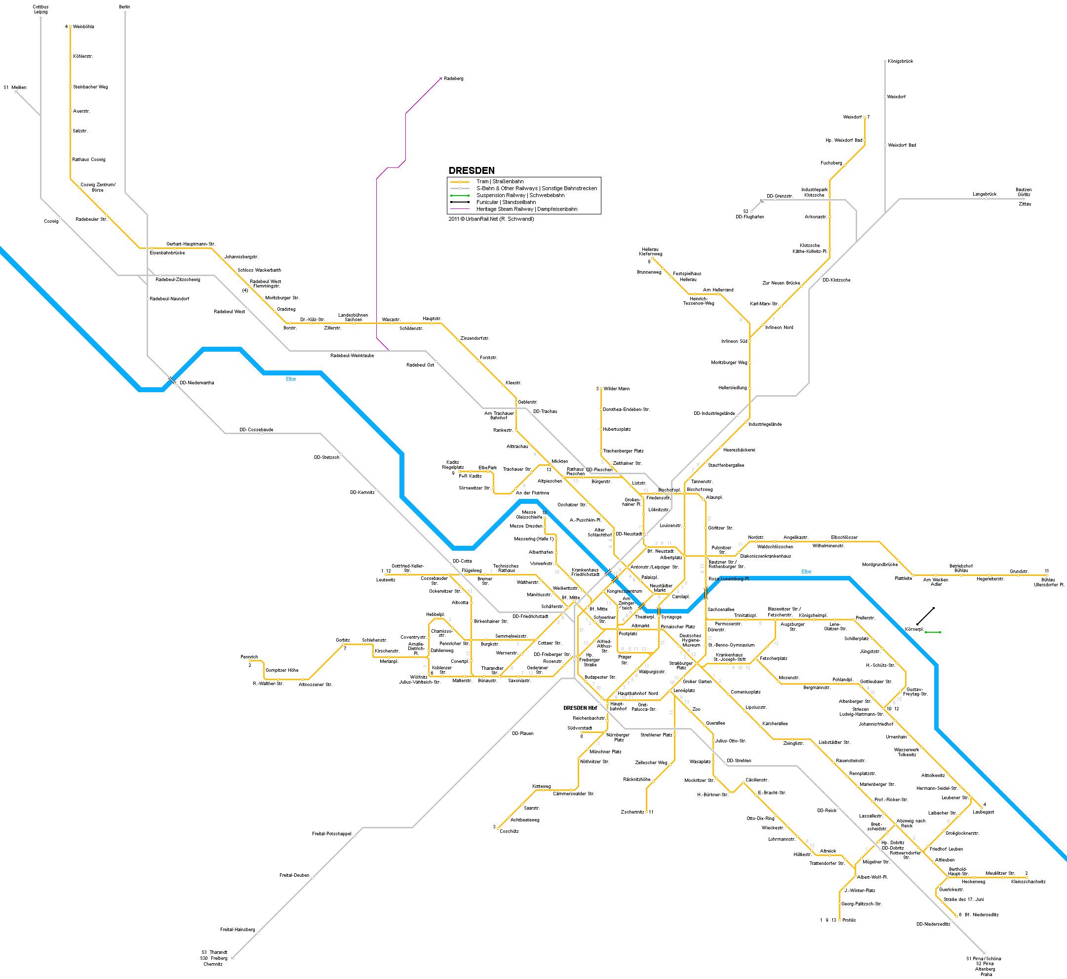 Mapa de tranvías de Dresde
