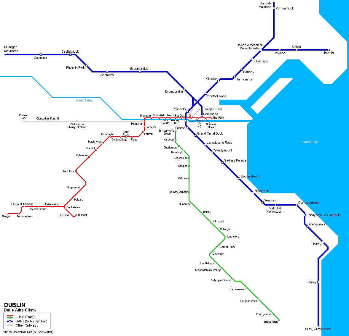 Mapa de tranvías de Dublín