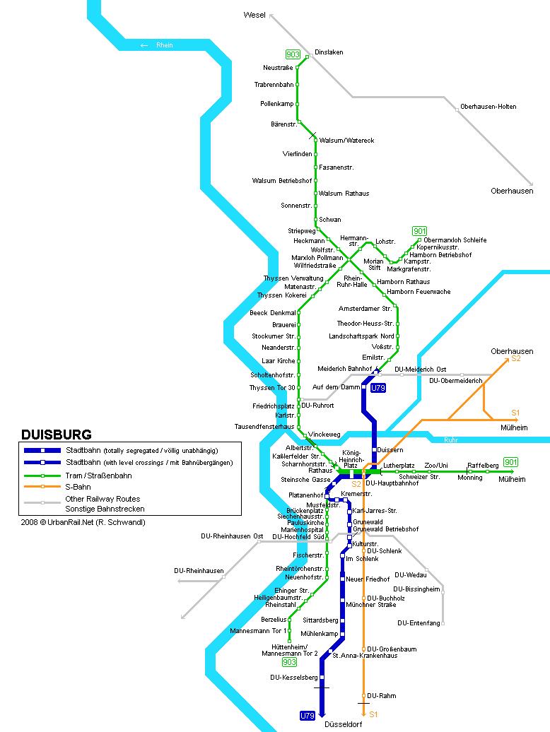 Карта трамваев в Дуйсбурге