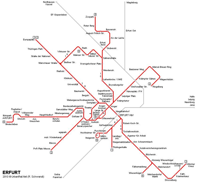 Mapa de tranvías de Érfurt