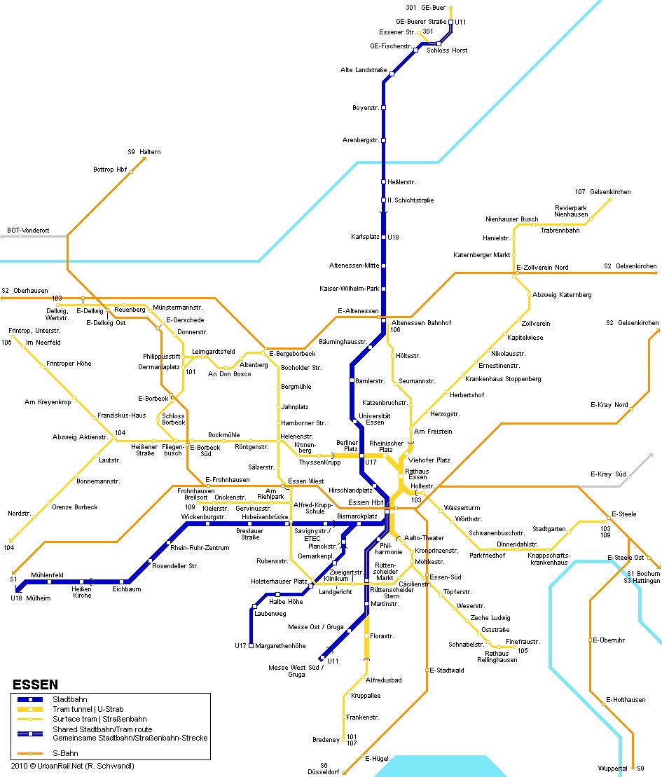 Mapa de tranvías de Essen