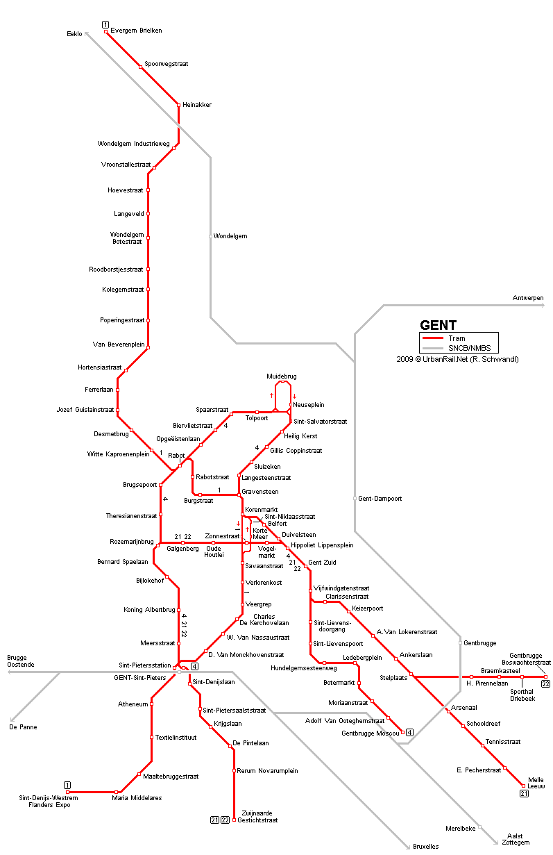 Gent Tram Map for Free Download Map of Gent Tramway Network