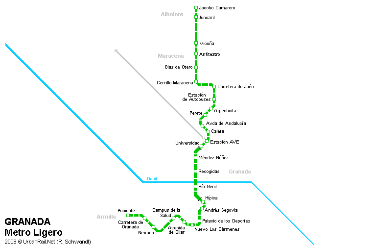 Mapa de tranvías de Granada