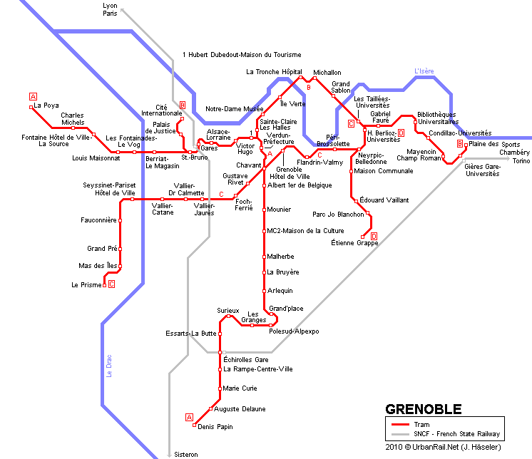 Grenoble Tram Map for Free Download Map of Grenoble Tramway Network
