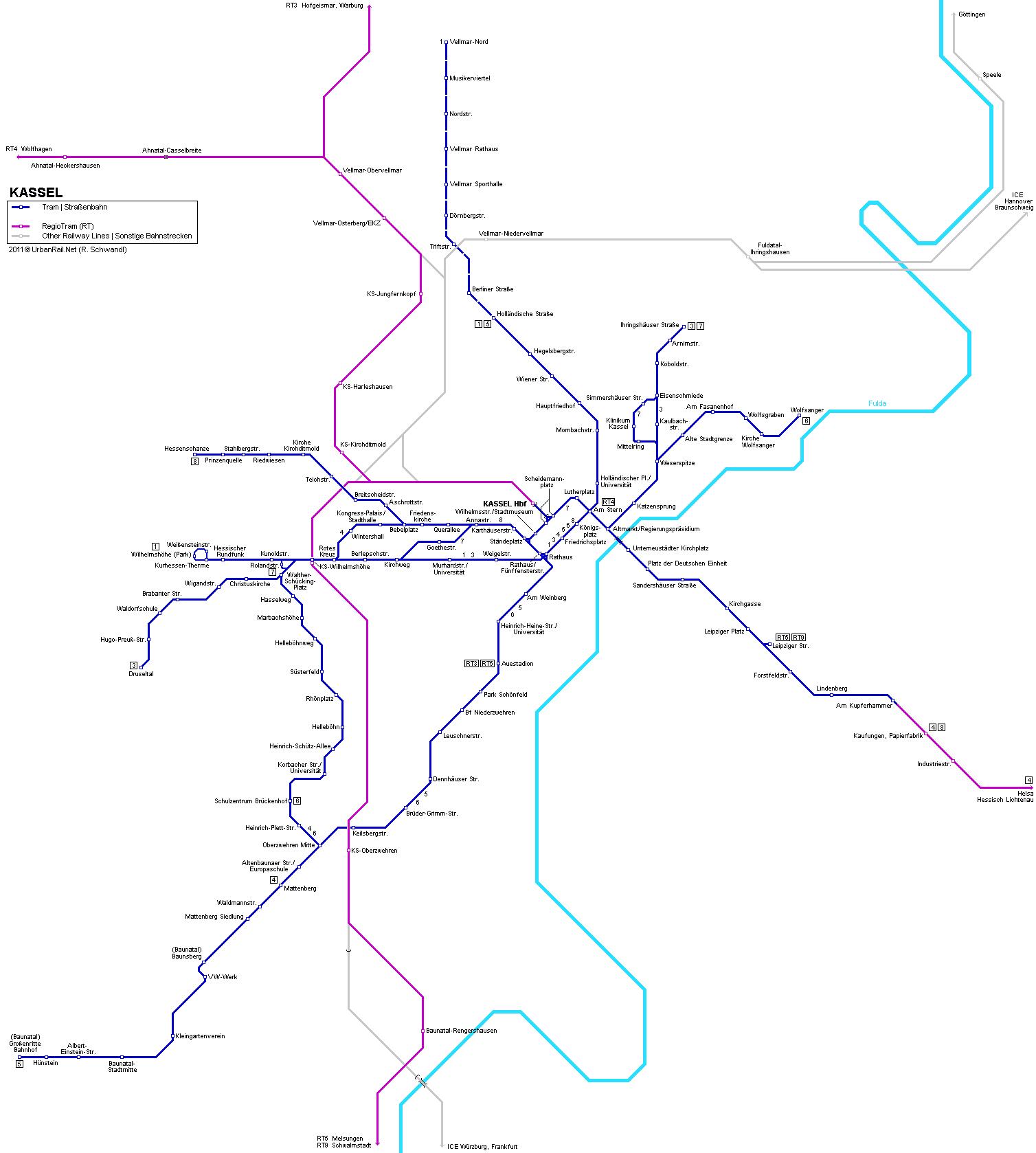 Mapa de tranvías de Kassel