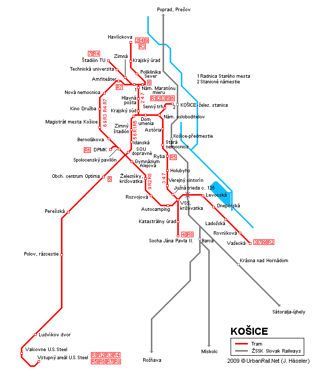 Tram map of Kosice
