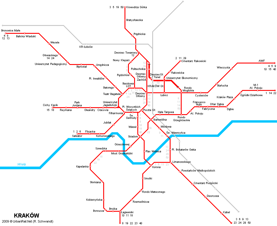 Tram map of Krakau