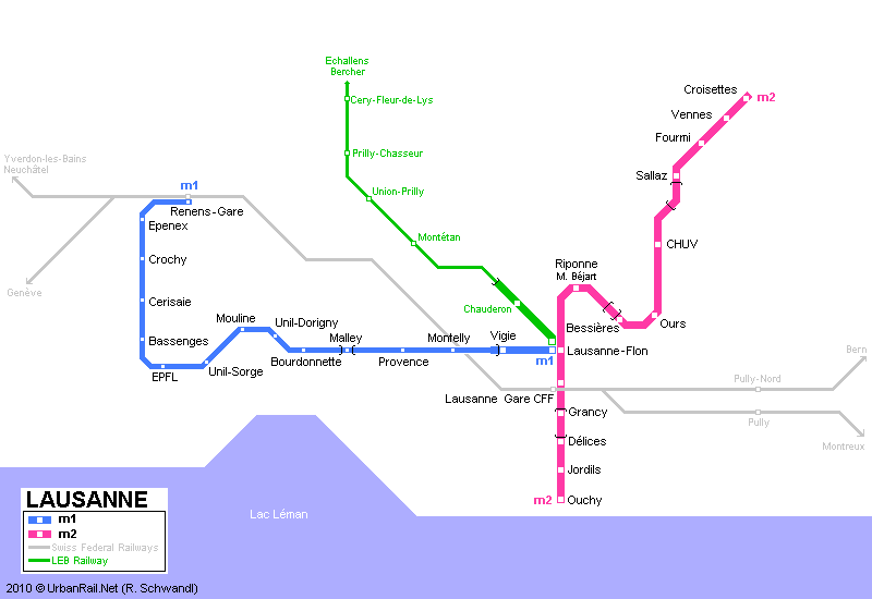 Tram map of Lausanne