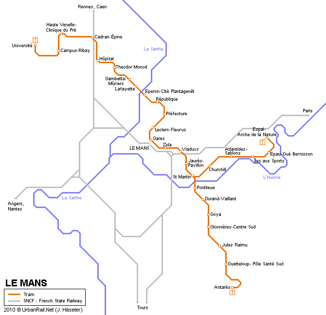 Tram map of Le Mans