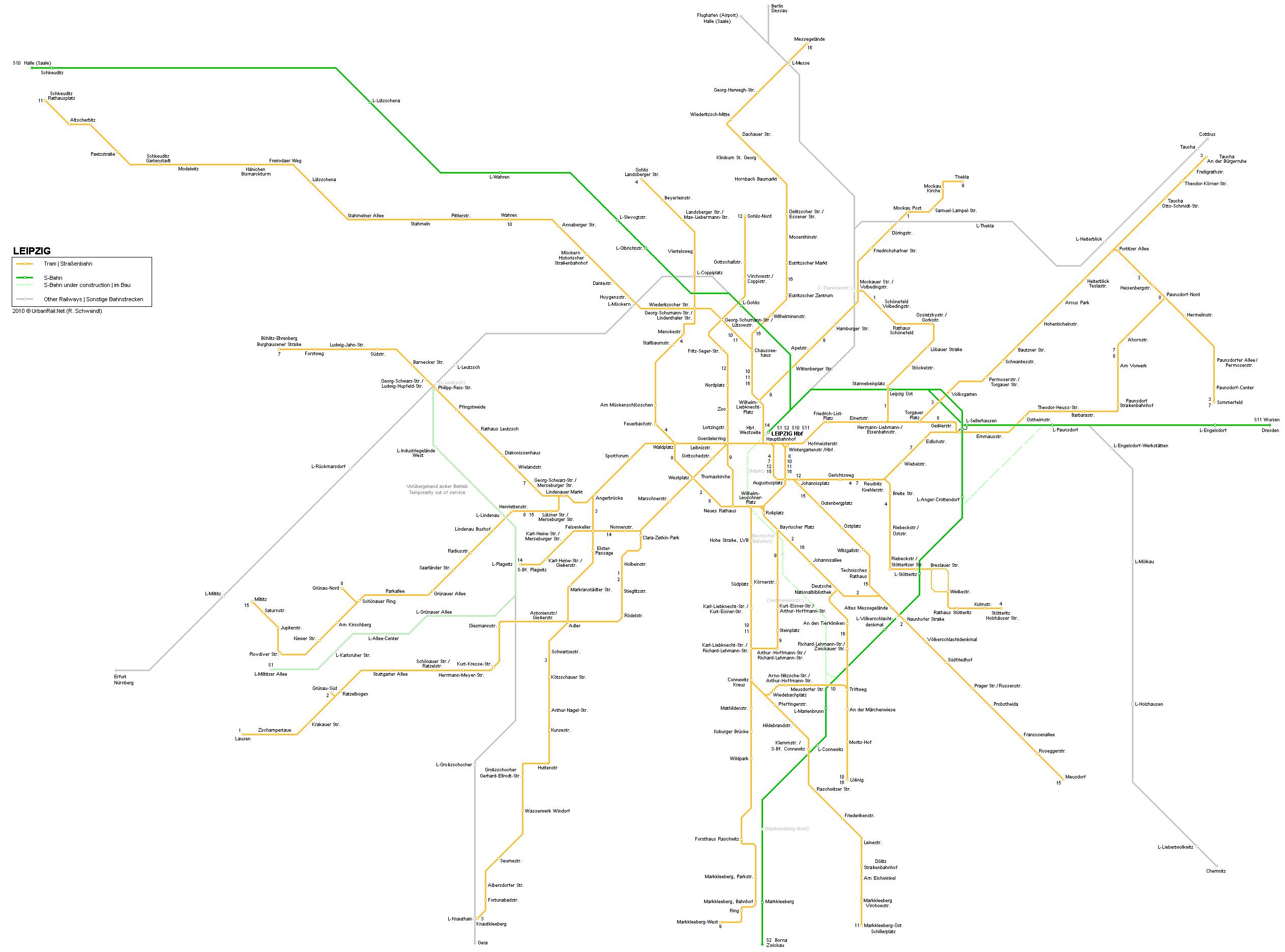 Mapa de tranvías de Leipzig