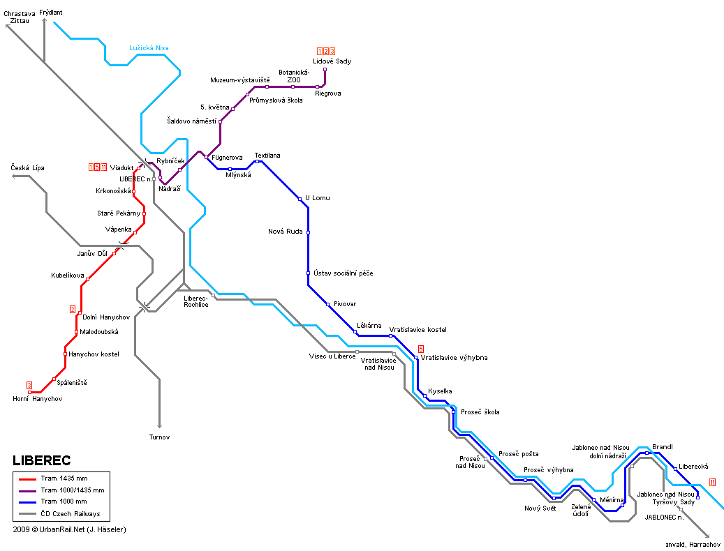 Tram map of Liberec