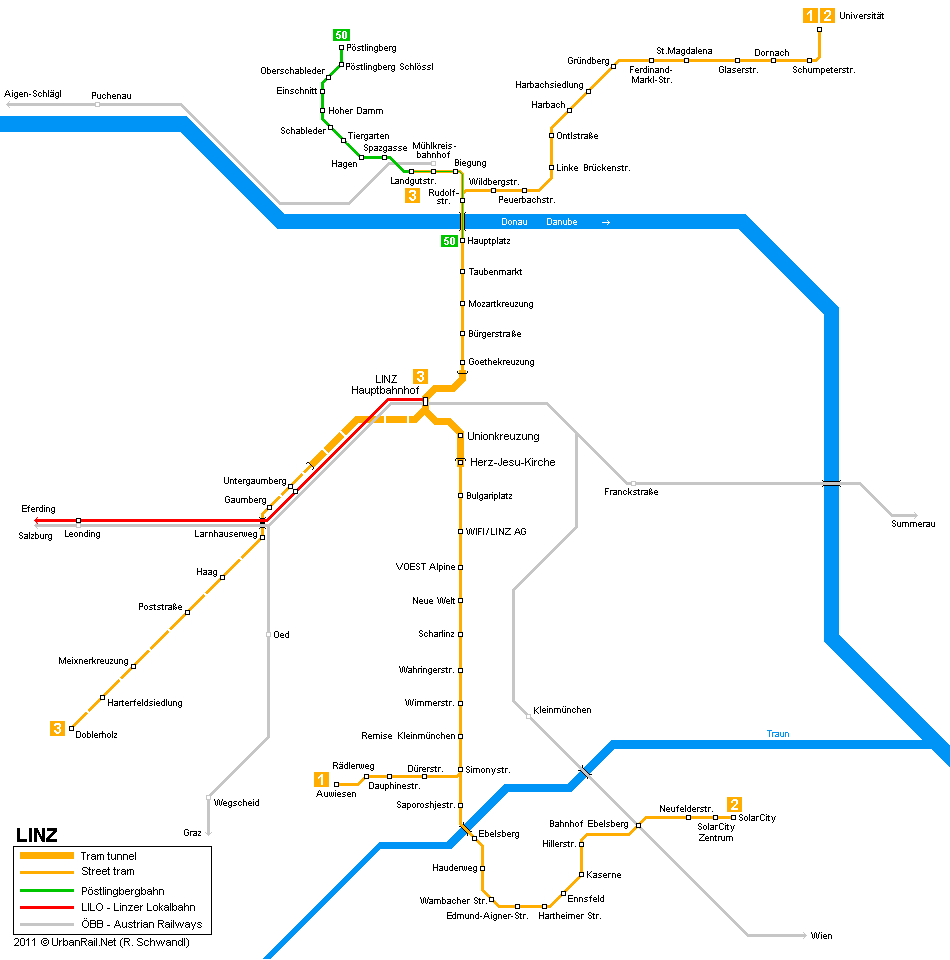 Tram map of Linz