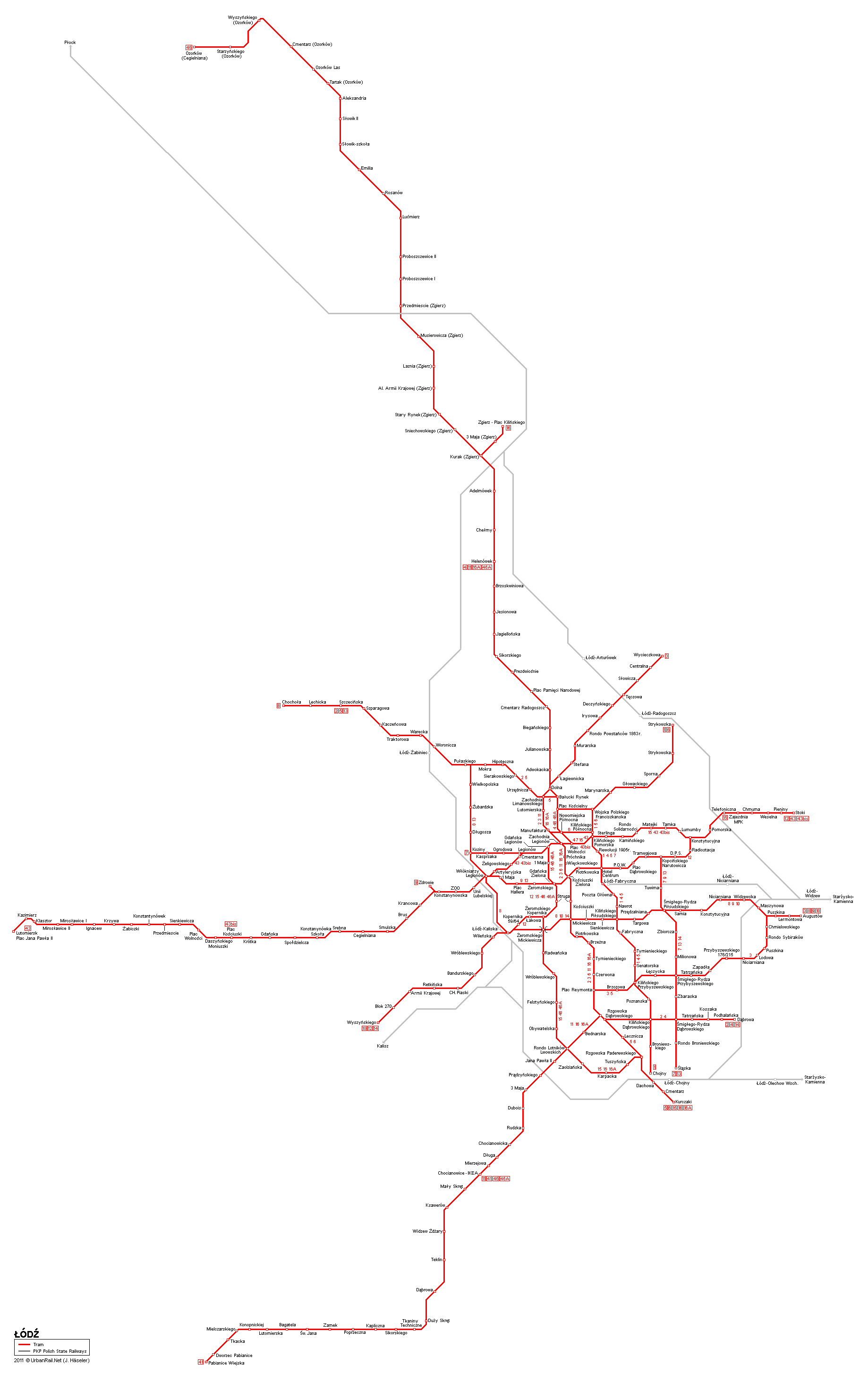 Tram map of Lodz