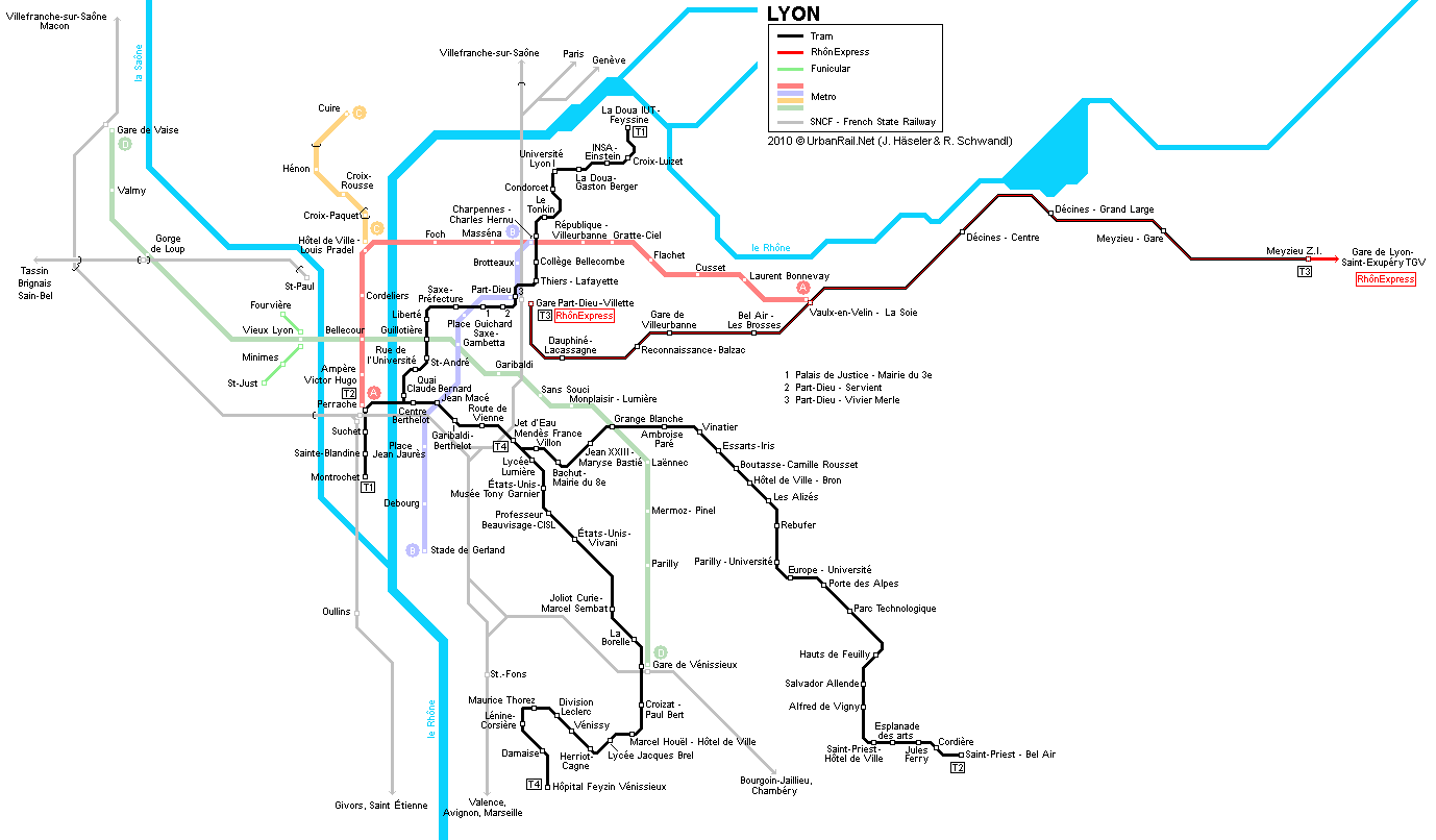 Lyon Tram Map for Free Download | Map of Lyon Tramway Network