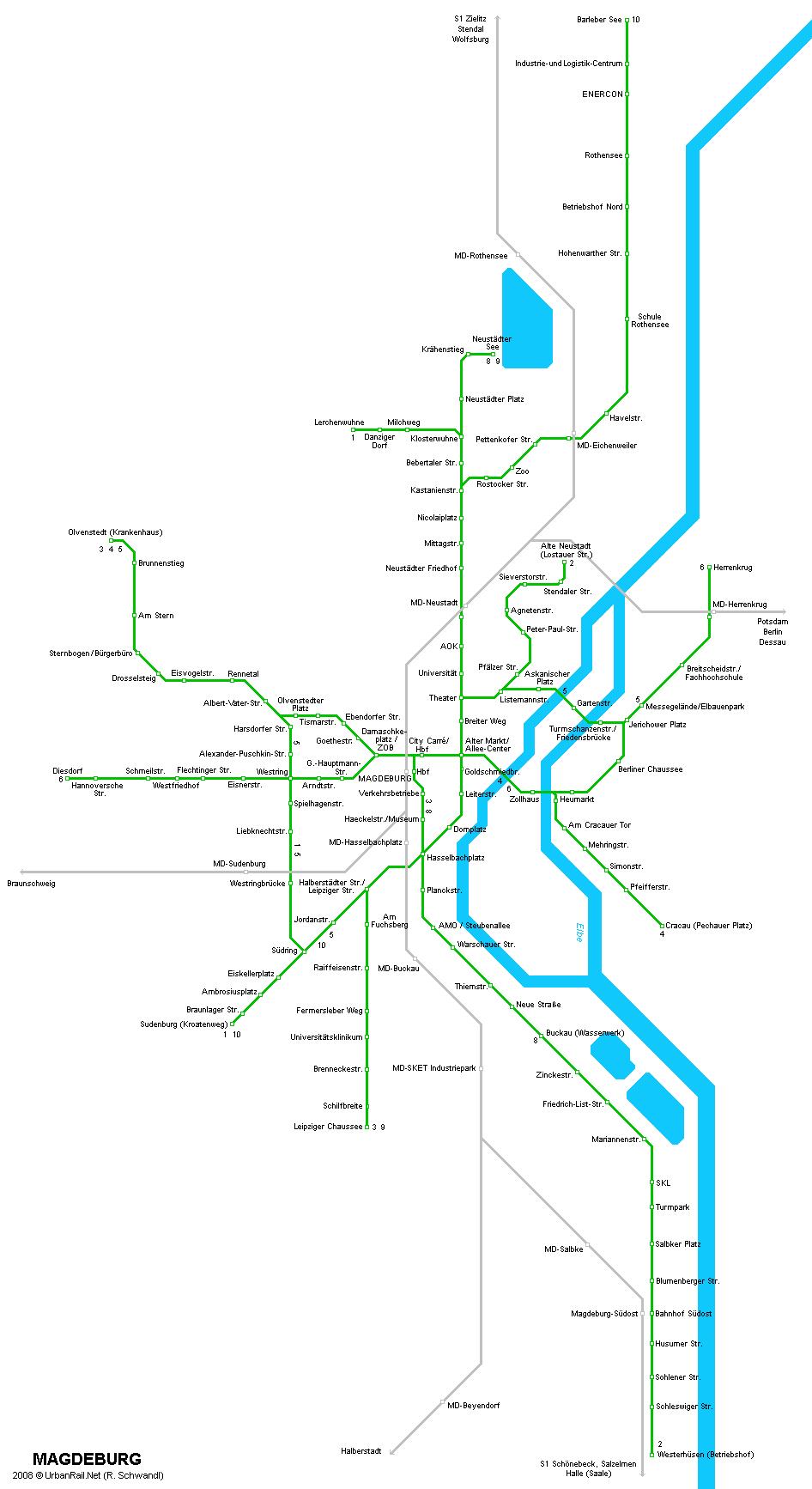 Mapa de tranvías de Magdeburgo