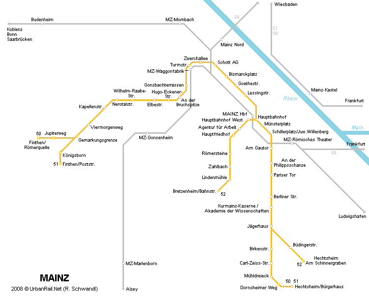 Mainz Tram Map for Free Download Map of Mainz Tramway Network