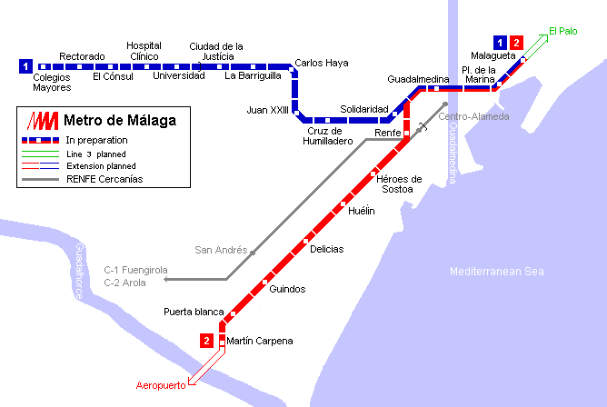 Malaga Tram Map for Free Download Map of Malaga Tramway Network