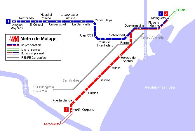 Mapa de tranvías de Málaga