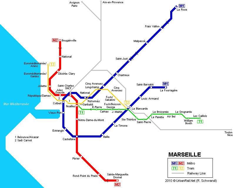 Marseille Tram Map for Free Download Map of Marseille Tramway Network