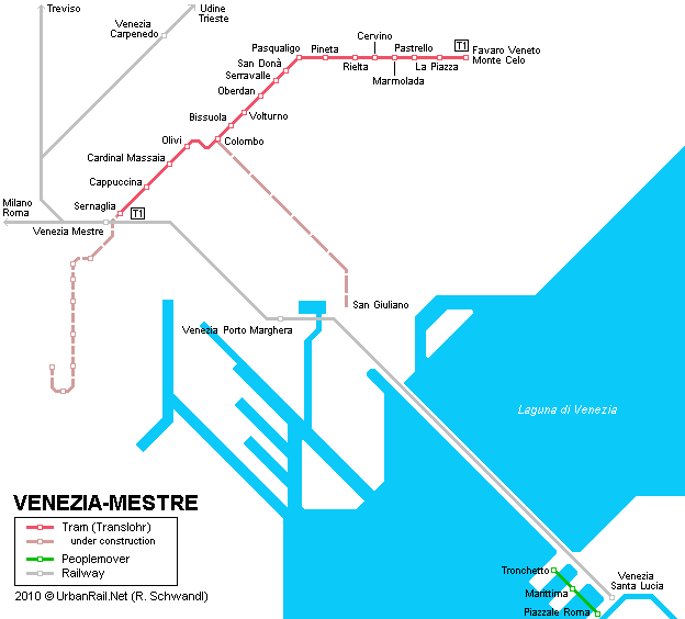 Tram map of Mestre